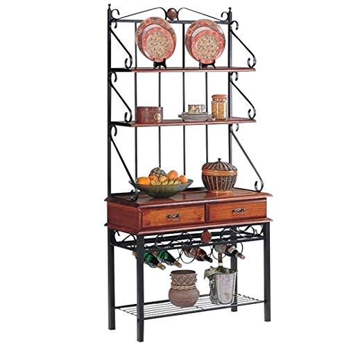 (2-Drawer Baker's Rack with Wine Rack Tobacco)