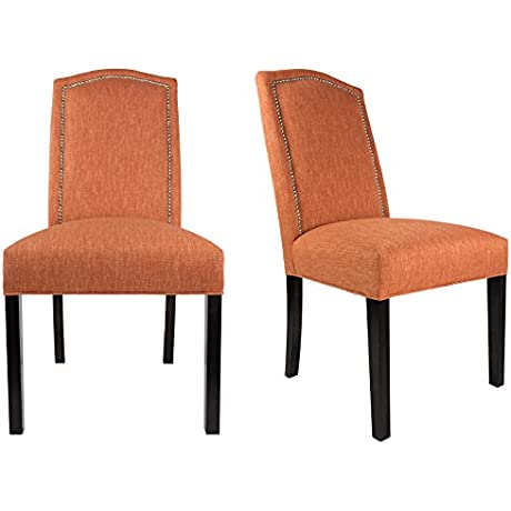 Sole Designs The SL2008 Collection Contemporary Style Fabric Upholstered Armless Dining Side Chairs With Nailhead Trim Set Of 2 Orange