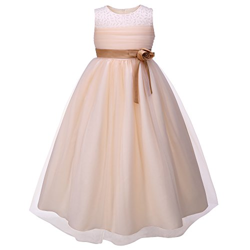 Organza Beading Ribbon - Pettigirl Big Girls' Champagne Beads Satin Tulle Ankle-Length Flower Girl Dress,Size 10 = US 10 yrs,Champagne