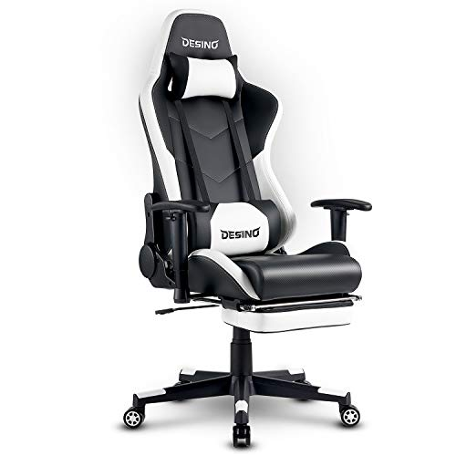 DESINO Gaming Chair Racing Style High Back Computer Chair Swivel Ergonomic Executive Office Leather Chair Video Game Desk Chair with Footrest for Adults (White)