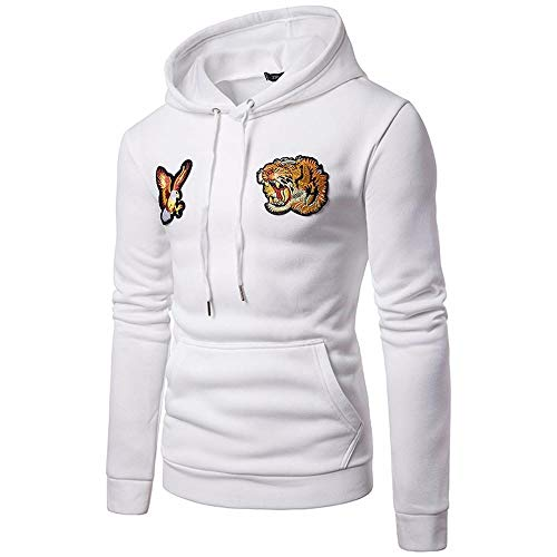 Hoodies for Men, FORUU Embroidery Hooded Sweatshirt Tops Jacket Coat Outwear White ()