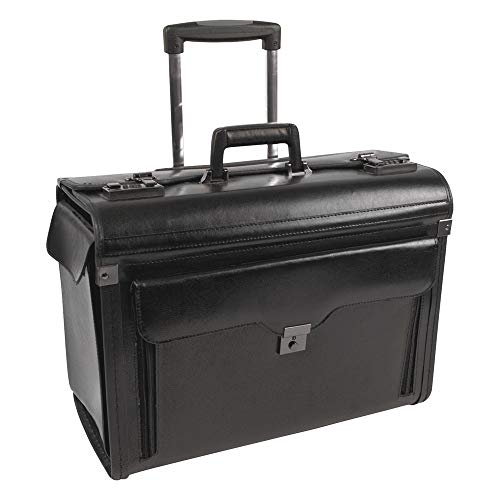 Bond Street, Ltd. 546110BLK Rolling Computer/Catalog Case, Leather, 19 x 9 x 15-1/2 Inches, Black ()