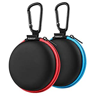 SUNGUY Earbuds Cases, 【2Pack, Red+Blue】 Round Fashion Travel Pocket Earbud Carrying Case with Carabiner for Earphone, Wireless Headset Hard Storage Bags Headphone Box, MP3 USB Cable