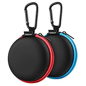 Earbud Cases,SUNGUY [2-Pack] Earphone Travel Carrying Small Round Pocket Ear Bud Case with Carabiner for Smartphone Earphone Bluetooth Headset Storage Bags Hard EVA Headphone Box (Blue+Red)