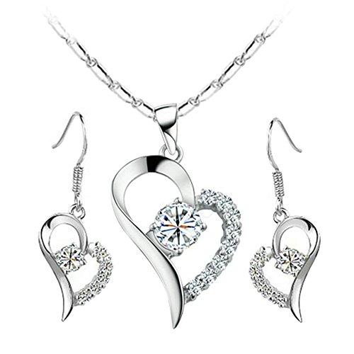 Yoursfs CZ Jewelry Set for Women Open Heart Pendant & Hook Earrings Set 18K White Gold