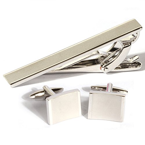 Rhodium Plated Rectangular Cufflinks (Digabi Plated Platinum Rectangular Tie Clip and Cufflinks Set Color Silver with Nice Box (White))