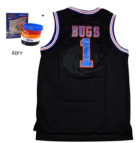 Bugs 1 Space Jam jersey Basketball Jersey Include Free Themed Wristbands (BLACK, L)