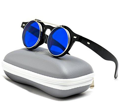 Flip up Cyber Steampunk Round Circle Retro - Sunglasses Google Glass