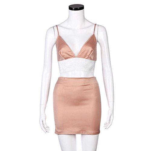 FNKDOR Falda sin mangas del club del coctel del partido de Bodycon de las mujeres + tapas Rosa