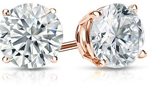 2CaratBasic Must Have Lab Grown Diamond Stud Earrings for Women (Certified H-I Color, VS Clarity) in 14K rose Gold with Jewelry Gift Box