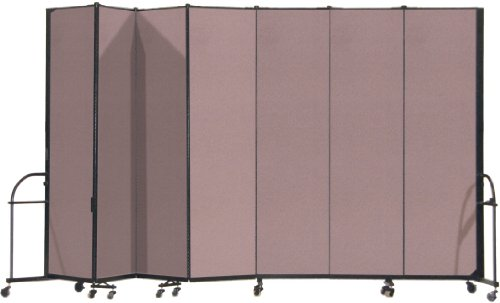 13 Panel Room Dividers - Screenflex Heavy Duty Portable Room Divider (HFSL747-DM) 7 Feet 4 Inches High by 13 Feet 1 Inches Long, Designer Rose Fabric