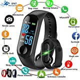 SBA999 Advanced Sweat proof Smart Fitness Heart Rate Activity Body Functions Steps/Calorie Counter, Live Blood Pressure/Heart Rate Monitor OLED Touchscreen M3 Band/Bracelet for android & iOs Devices