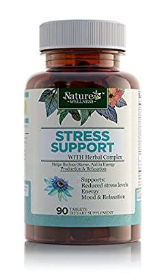 Premium Stress Support Formula – All Natural Anxiety Relief, Mood Enhancer & Relaxation Supplement - Stress B Complex with Herbal Extract blend and Vitamin C, PABA, Choline