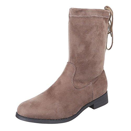 Ital-Design - Botas plisadas Mujer marrón y gris