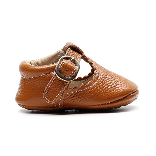HONGTEYA Leather Leopard Baby Shoes Hard Sole T-Strap Boys Girls Moccasins for Infants Babies Toddlers (12-18 Months/ 6 M US Toddler, Brown)