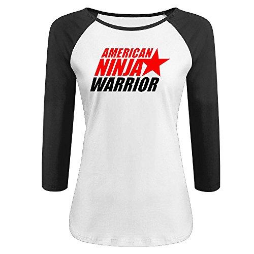 CALZ Lady American Ninja Warrior Logo Three-Quarter Sleeve Crew Neck T Shirt L - Matt Shirt Cain