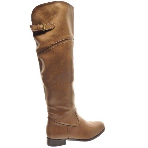 Kickly - Chaussure Mode Botte Cuissarde cuissarde femmes boucle Talon bloc 3 CM - Intérieur fourrée - Khaki