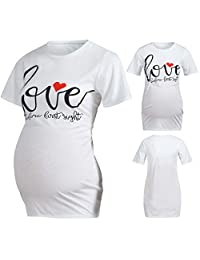 GoodLock Women Maternity Clothes Nursing Tops Short Sleeve Letter Print Tops T-Shirt Pregnancy Clothes (White, Large)