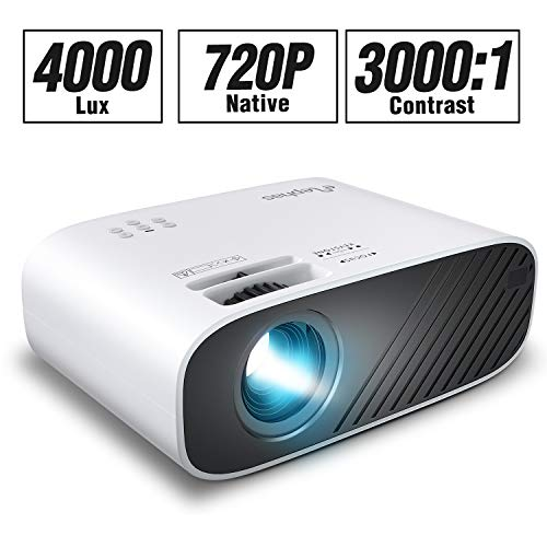 ELEPHAS Mini Movie Projector, with 4000 LUX Brightness and 50, 000 Hours of Lamp Life, Supports Full HD 1080P and 200″ Display, Compatible with USB/TF Card/HDMI/VGA/Laptop/Phone