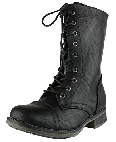 Cambridge Select Women's Combat Military Lace Up Inside Zipper Boot (9 B(M) US, (Black Leather Lace Up Boots)