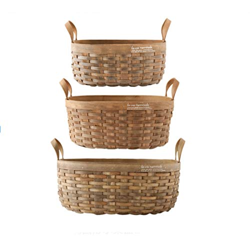 Tongboshi Bread Basket, Hand-Woven Storage Basket (with Handle), Picnic Fruit Bread Basket, Storage Basket, Oval Fruit Basket Three-Piece, Latest Models (Color : 3-Piece Set) by Tongboshi (Image #6)