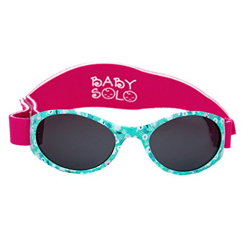 Baby Solo Babyfarer Baby Toddler Sunglasses/Infant Newborn Sunglasses (0-36 months, Floral Gardens Frame w/Solid Black Lens)