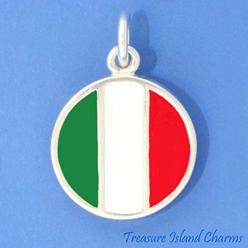 ITALY ITALIAN ENAMEL FLAG .925 Sterling Silver Charm Pendant BANDIERA DITALIA Jewelry Making Supply Pendant Bracelet DIY Crafting by Wholesale Charms - Flag Enamel Italian Charm