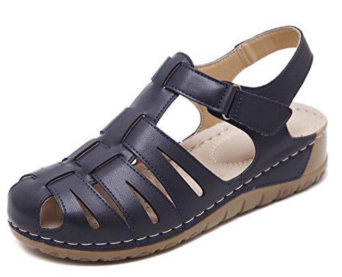 D2C Beauty Womens Summer Round Toe Bohemian Platform Sandals Navy jOeXhtQsu