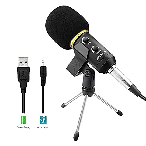 ARCHEER Podcast Recording Microphone with Stand Professional Condenser Studio Broadcasting Microphone for Computer PC Laptop,USB Power Supply- Black