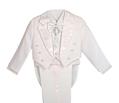 Dressy Daisy Boys' Classic Fit First Communion Dress Suit Tuxedo Suit with Tail 5 Pcs Set Formal Suits Wedding Outfit Size 7 -