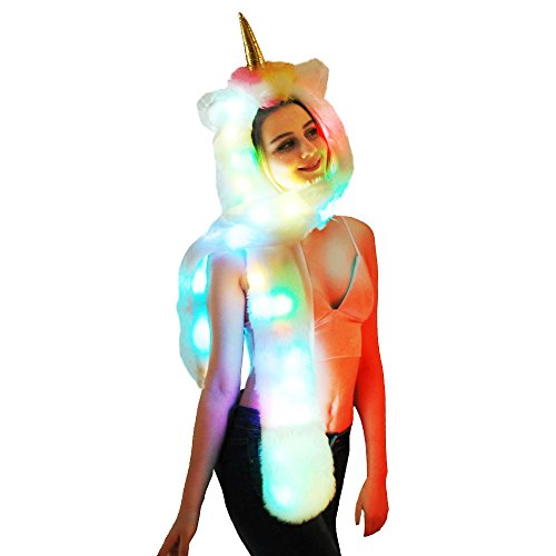LED Unicorn Hat Scarf Gloves 3-in-1 Function Faux Fur Glowing Hoodie with Pockets Soft Cosplay Gift (LED Unicorn)