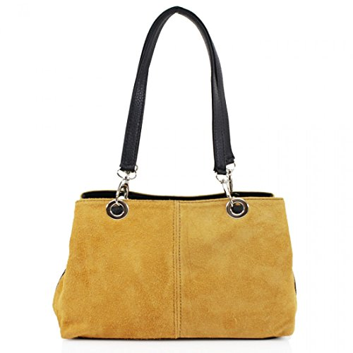 NEW HANDBAG LEATHER BAG SUEDE WOMENS LADIES 2 Yellow REAL ITALIAN DESIGNER SHOULDER qxwOfRqr