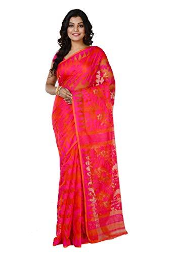 Aishika Women's Jamdani Cotton Silk Handloom Pink & Orange