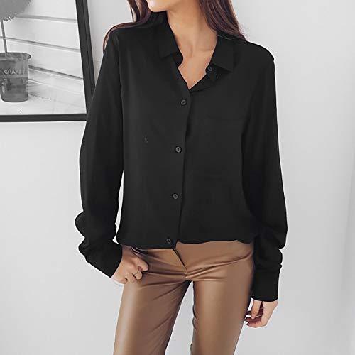 Manche Longues Causal Retro Bureau Tops Amples Laides Femme Chic Chemisier Shirt T Sexy Blouse Uni Noir Office Mode xES0xYwq