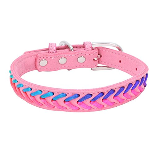 (Sunward Basic Classic Pet Collar, Braided Leather Dog Collars For Cats Puppy Small Medium Dogs (Pink, XS))