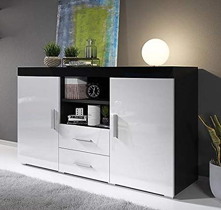 muebles bonitos Aparador Moderno Modelo Roque Negro Blanco de melamina Brillo Ancho 140cm Alto 80cm Profundo 40cm