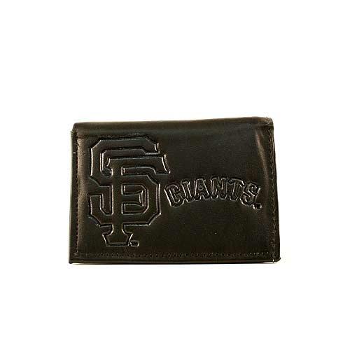 - MLB San Francisco Giants Tri-Fold Leather Wallet, Brown