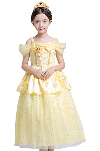 PIESWEETY Children Clothes Dresses Princess Dress Up Halloween Costume for Girls (Yellow Belle, 3T-4T)