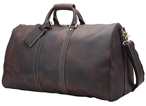 Texbo Men's Thick Durable Cowhide Leather Vintage Big Travel Duffle Evening Bag 23″ For Sale