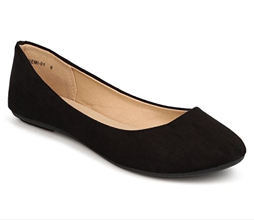 REFRESH DEMI-01 Womens Suede Ballerina Ballet Slip On Flats Black Color Size 11