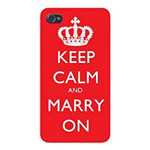 Apple Iphone Custom Case 6 4.7 White Plastic Snap on - Keep Calm and Marry On Red/White