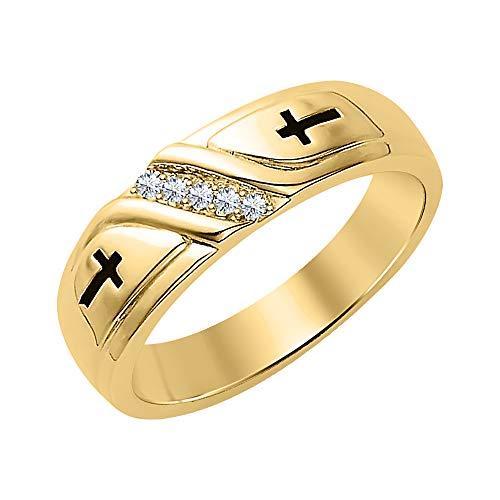 dazzlingjewelrycollection Wedding 5-Stone Men's Cross Ring White Diamond 14k Yellow Gold Plated