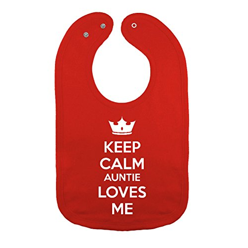 (Mashed Clothing Unisex-Baby Keep Calm Auntie Loves Me PREMIUM 2-Ply Snap Baby Bib (Red))