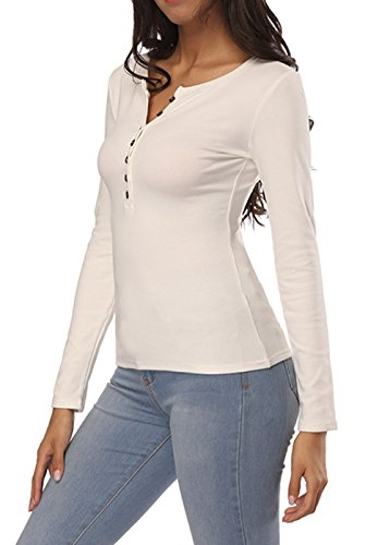 Fashion Blanc Slim Tees Blouse Automne Longues Printemps Jumpers Shirts Col Casual Manches et Sweat Chemisiers Femmes Onlyoustyle Tops Hauts Rond Shirts T Z14TTq