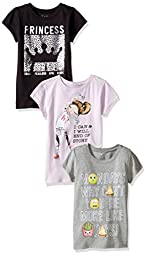 The Children\'s Place Big Girls\' Graphic Tees(Pack of 3), Princess Multi, XL (14)