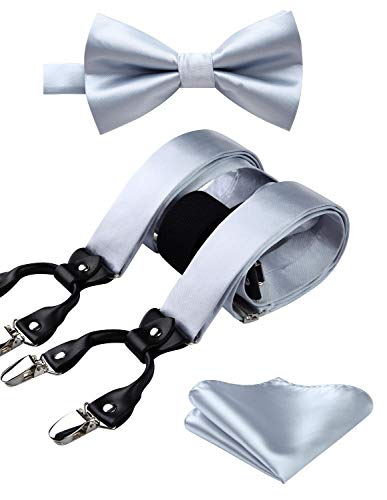 HISDERN Solid Silver 6 Clips Suspenders and Bow Tie Set Y Shape Adjustable Braces Silver ()