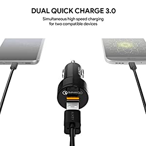 AUKEY Car Charger Quick Charge 3.0, 39W Dual Ports Samsung Galaxy Note8 / S9 / S8 / S8+, LG G6 / V30, HTC 10 More | Qualcomm Certified
