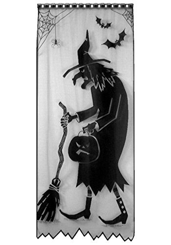 Decorative Black Witch Silhouette Scenic Halloween Door and Window Panel 38'' x 84'' by Heritage Lace