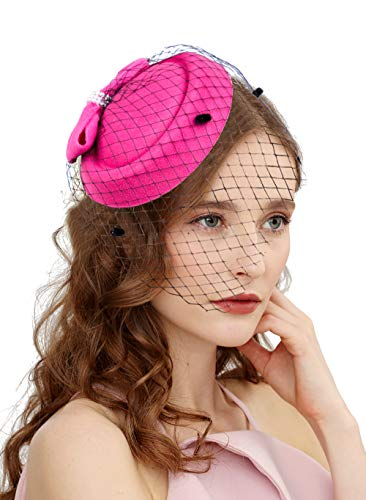 Cizoe Fascinators Hats 20s 50s Hat Pillbox Hat Cocktail Tea Party Headwear with Veil for Girls and Women (C-Rose)