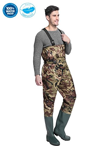 Hip High Waders (Cleated Fishing Hunting 2-Ply Nylon/PVC Waterproof Bootfoot Chest Wader Camouflage 8-13)